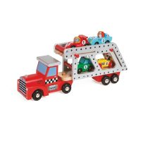 Janod Story 4 Car Transporter Lorry with 4 Racing Cars
