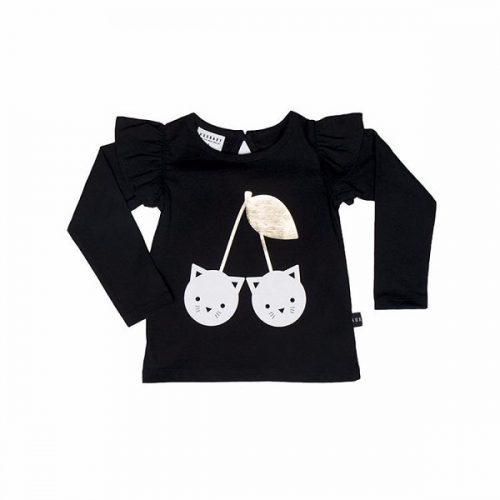Huxbaby Black Frill Long Sleeve Top
